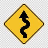 Vänstert slingrigt vägmärke på genomskinlig bakgrund stock illustrationer
