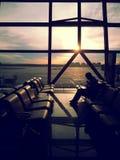 Vänta på Pekingflygplatsen Arkivfoton