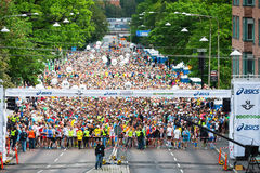 Vänta på starten i maraton 2014 för ASICS Stockholm Arkivbild