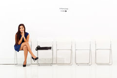 Kvinnaanställningsintervju Royaltyfria Foton