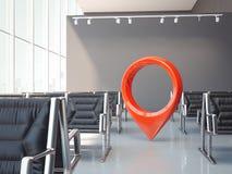 Väntande korridor för flygplats med mörkerstolar och det röda geotag- eller översiktsstiftet framförande 3d vektor illustrationer