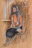 Väntande kvinna Arkivbilder