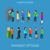 Väntande linjer för ATM och betalningterminal royaltyfri illustrationer