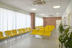 Väntande område för offentlig byggnad Inre detalj för sjukhus inget royaltyfri fotografi