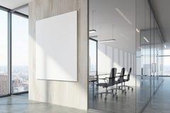 Väntande område för vitt wood kontor och konferensrum royaltyfri illustrationer