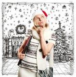 Väntande på jul för kvinna Arkivbild