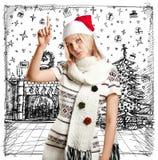 Väntande på jul för kvinna Royaltyfri Foto