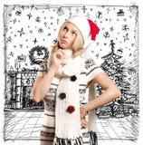 Väntande på jul för kvinna Fotografering för Bildbyråer