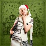 Väntande på jul för kvinna Royaltyfria Bilder