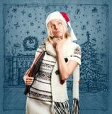 Väntande på jul för kvinna Royaltyfria Foton