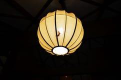 Väntande på kryp för gecko på natten i en lampa royaltyfri fotografi
