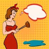 Väntande på rörmokeri för kvinna, rengörande hem- popkonst stock illustrationer