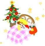 Väntande på Santa Claus i drömmen. Arkivfoto