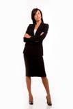 Väntande rapport för affärskvinna Arkivfoto