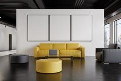 Väntande rum för kontor: soffa galleri, framdel stock illustrationer