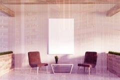 Väntande rum för vitt kontor, affisch, tonade fåtöljer stock illustrationer