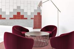 Väntande rum för vitt och rött kontor royaltyfri illustrationer