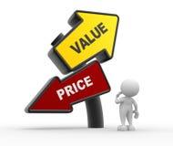 Värde eller pris stock illustrationer