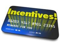 Värde för besparingar för pengar för kort för gåva för kreditering för incitamentbelöningbonus Royaltyfri Fotografi
