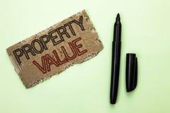 Värde för egenskap för ordhandstiltext Affärsidé för bedömning av den värda Real Estate bostads- värderingen som är skriftlig på  arkivbild