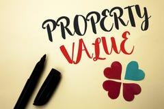 Värde för egenskap för ordhandstiltext Affärsidé för bedömning av den värda Real Estate bostads- värderingen som är skriftlig vid arkivfoton