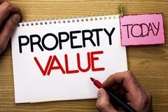 Värde för egenskap för ordhandstiltext Affärsidé för bedömning av den värda Real Estate bostads- värderingen som är skriftlig vid royaltyfria bilder
