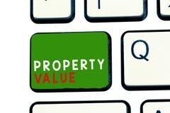 Värde för egenskap för textteckenvisning Begreppsmässigt fotovärde av en marknadspris för mässa för landfastighetvärdering royaltyfria foton