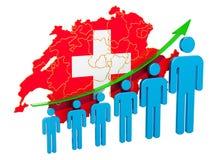 Värdering av anställning och arbetslöshet eller dödlighet och fertilitet i Schweiz, begrepp framf?rande 3d stock illustrationer