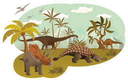 Värld av dinosaurier Arkivfoton