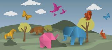 Värld av origami - djur Arkivfoto
