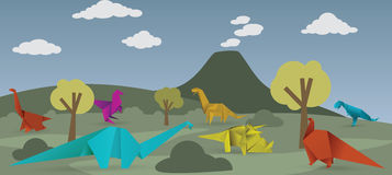 Värld av origamidinosaurier Arkivbilder