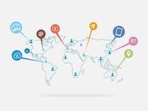 Värld av socialt massmedia och det sociala nätverket - symbol Royaltyfri Fotografi
