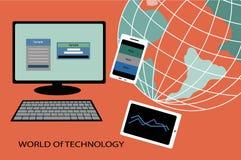 Värld av teknologi stock illustrationer
