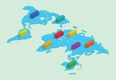 Värld - bred sändnings med behållarenätverksaffären förbindelse överst av den isometriska världskartan stock illustrationer