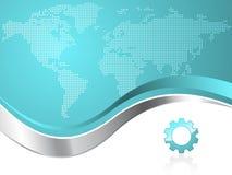värld för översikt för logo för bakgrundsaffärskugghjul Fotografering för Bildbyråer