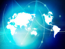 värld för översiktsstilteknologi royaltyfri illustrationer