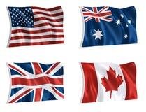 värld för 01 flaggor Arkivbild