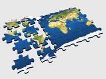värld för 2 pussel Arkivfoton