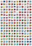 värld för 204 flaggor royaltyfri illustrationer