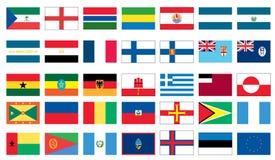 värld för 3 8 flaggor Arkivfoto