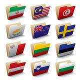 värld för 4 mappsymboler Arkivfoton