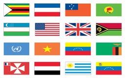 värld för 8 flaggor Royaltyfri Fotografi