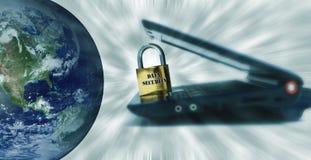 värld för datasäkerhet Arkivbild