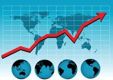 värld för diagramförsäljningsvektor Fotografering för Bildbyråer