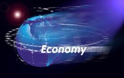 värld för ekonomijordklotöversikt stock illustrationer