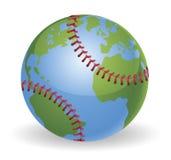värld för jordklot för bollbaseballbegrepp Royaltyfri Fotografi
