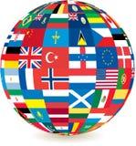 värld för jordklot för landsflaggor Royaltyfri Foto
