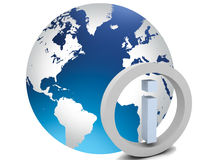 värld för jordklotsymbol info Royaltyfri Fotografi