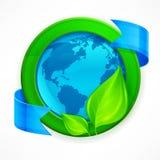 värld för leaf för green för begreppsdroppjord Arkivfoto
