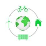 värld för leaf för green för begreppsdroppjord Royaltyfria Bilder